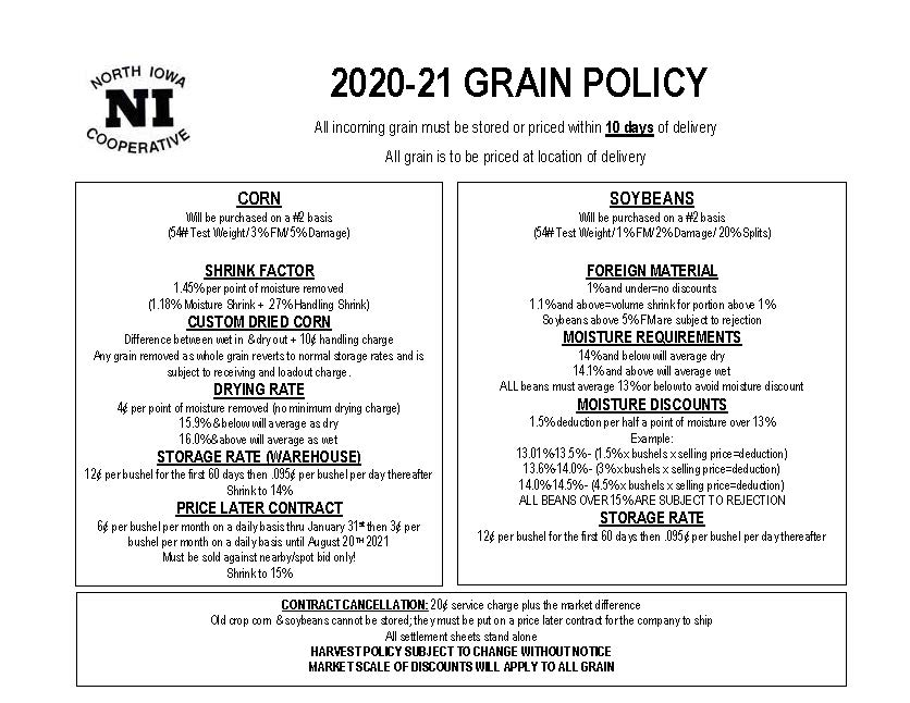 North Iowa 2020-2021 Grain Policy
